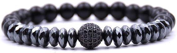 NINGYSP Bracelet en Pierre,Spinelle Noir en Pierre De Lave À La Mode Ouvrir Charme Boules Bracelet Bracelet Bijoux pour Hommes Ou Femmes