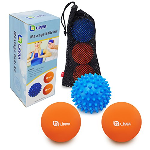 Limm Massage Ball Set (Lacrosse & Spiky Combo) – 2 2.5 inches & 1 2.8 inches – Best Feet, Back & Neck – Spiky Ball Pain Relief & Therapy – Includes FREE Carry Bag -