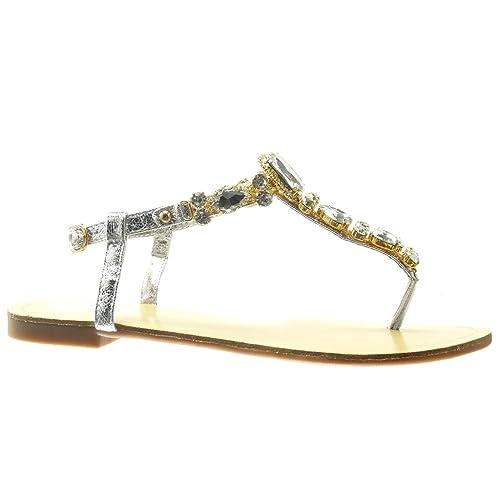 fa5b40ea1 Angkorly - Zapatillas Moda Sandalias Chanclas Correa Mujer Joyas Strass  fantasía tacón Plano 1.5 CM - Plata HL03 T 37  Amazon.es  Zapatos y  complementos