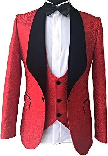 (auguswu One Button Jacquard Weave Mens Slim Fit Tuxedos Suits 2 Piece Sets Red 2 38R)