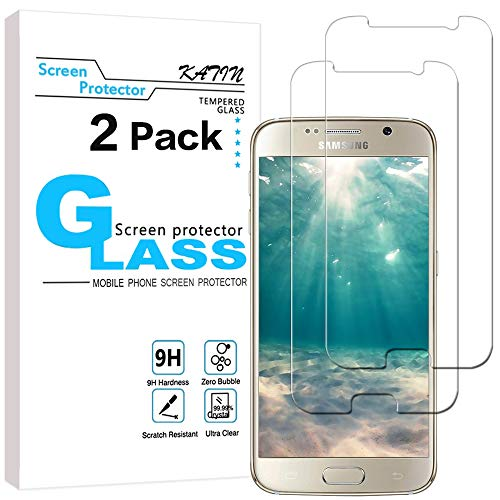 KATIN Galaxy S6 Screen Protector - [2-Pack] (Japan Tempered Glass) for Samsung Galaxy S6 Screen Protector Bubble free, 9H Hardness, Easy to Install with Lifetime Replacement Warranty