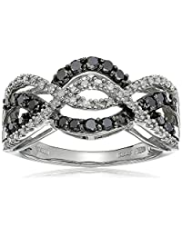 10k White Gold Black and White Diamond Waves Ring (1/2 cttw, I-J Color, I2-I3 Clarity)