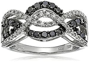 10K White Gold Black and White Diamond Crisscross Band Ring (1/2 cttw), Size 7