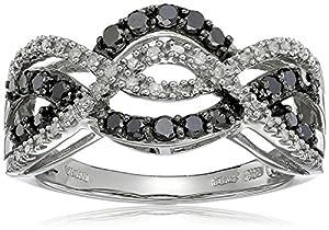 10K White Gold Black and White Diamond Crisscross Band Ring (1/2 cttw), Size 7