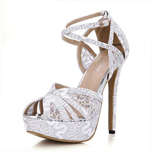 Best 4U? Women's Summer Sandals Comfortable Net Lace Basic Pumps Cross Straps One Buckle 14CM High Heels 3CM Platform Peep toe Rubber Sole Wedding Shoes White xJEWEmRA