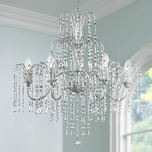 Crystal Rain 29 Wide 6-Light Crystal Chandelier