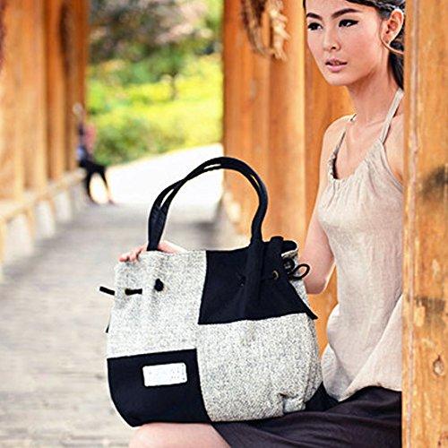 scuro lino per Borsa con donna mano a stile borsa dipinta Girl Bisser spalla grande spesso a etnico marrone xxqTA8