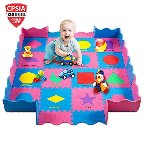 EDUcational Kids Baby Play Mat Foam With Fence Thick And Durable Quality