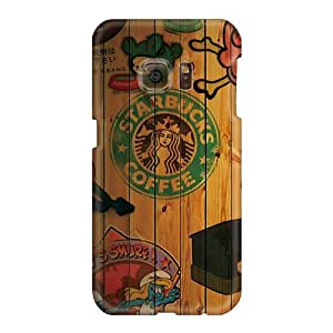 Protector Hard Phone Covers For Samsung Galaxy S6 (Hod6781WpET) Unique Design High Resolution Starbucks Coffee Collage Pattern