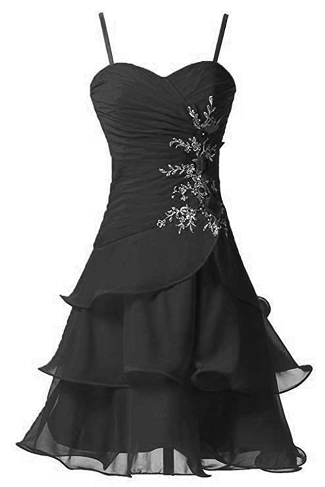 Black Victoria Prom Women's Strap A Line Short Bridesmaid Dress Prom Party Gowns Sweet Homecoming Dress