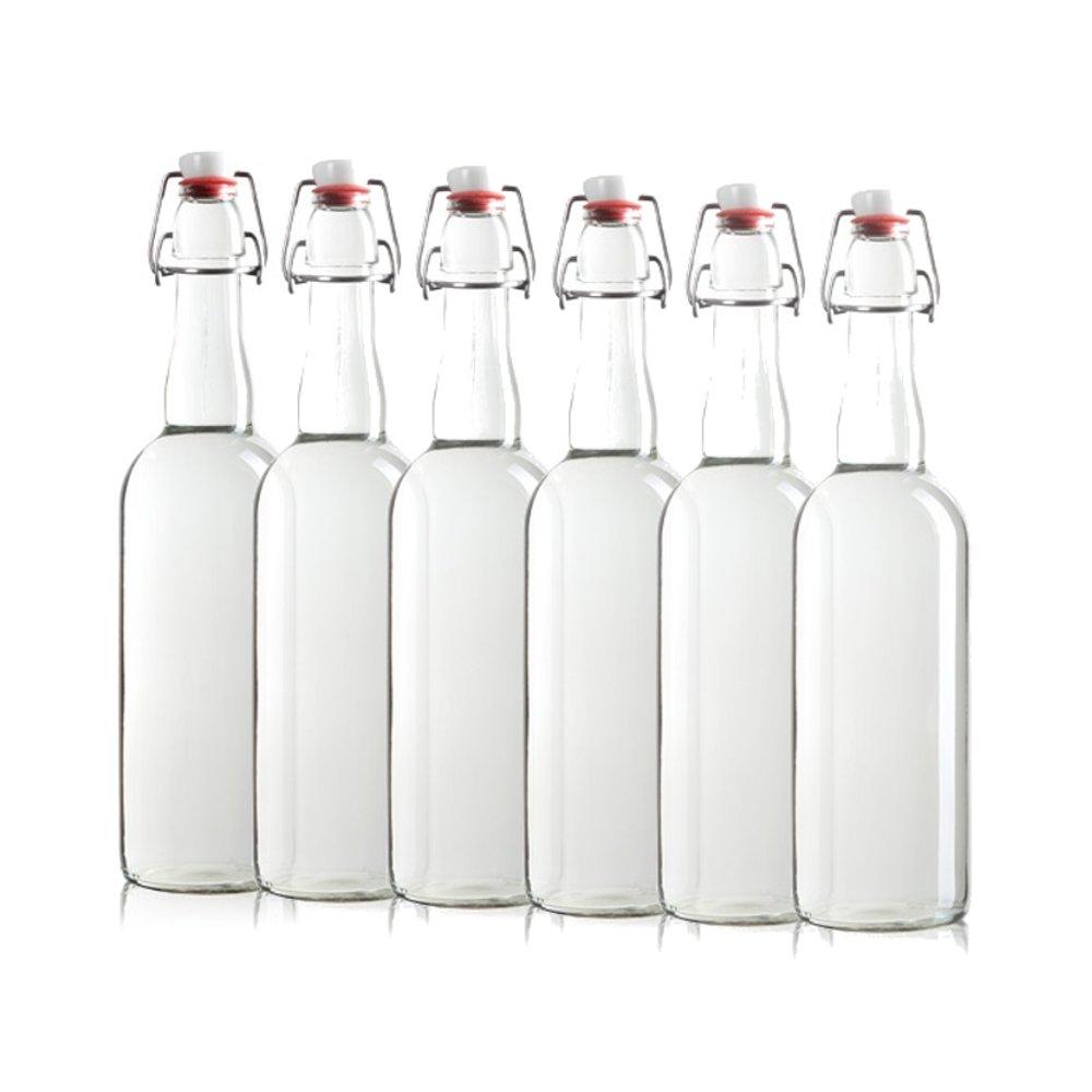 Sally Swing Top Bottle with EZ Open Cap [750 ml - Set of 6] Homebrewing, Kombucha, Water, Beer, Antique Bottles
