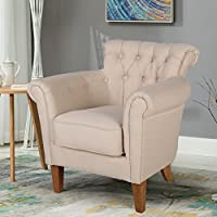 Zenith-Monet Classic Tufted Imitation Linen Fabric Accent Chair Club Chair Armchair Single Sofa (Cream)