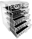 Countertop Storage Sorbus Acrylic Cosmetic Makeup and Jewelry Storage Case Display - Spacious Design - Great for Bathroom, Dresser, Vanity and Countertop, Diamond Pattern (4 Large/2 Small Drawers)