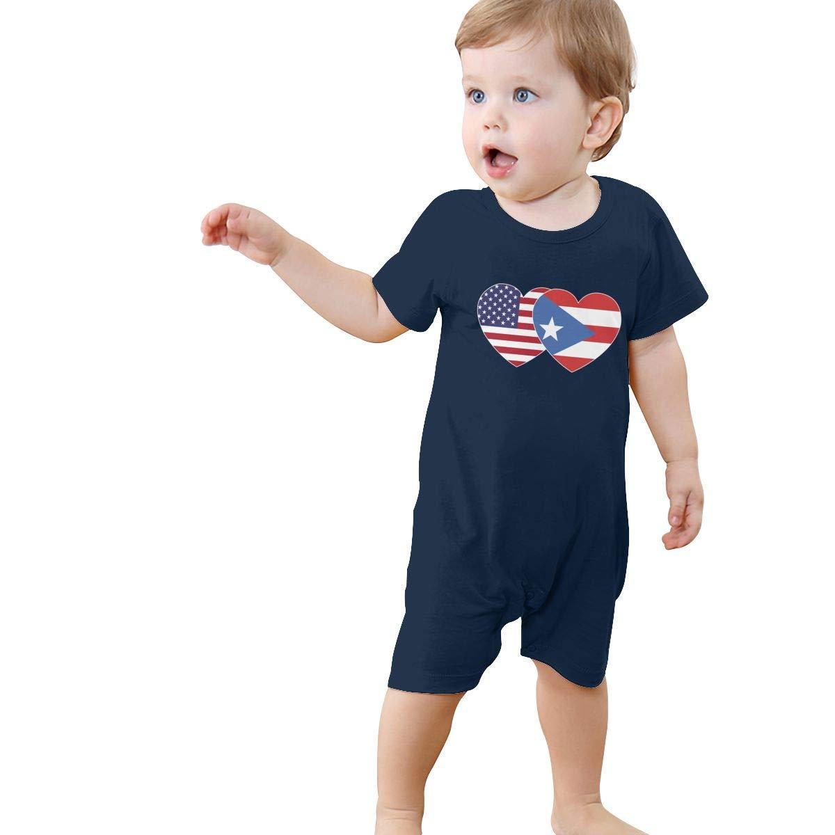 Puerto RICO USA Flag Twin Heart Newborn Baby Short Sleeve Romper Jumpsuit Kid Pajamas 0-24 Months
