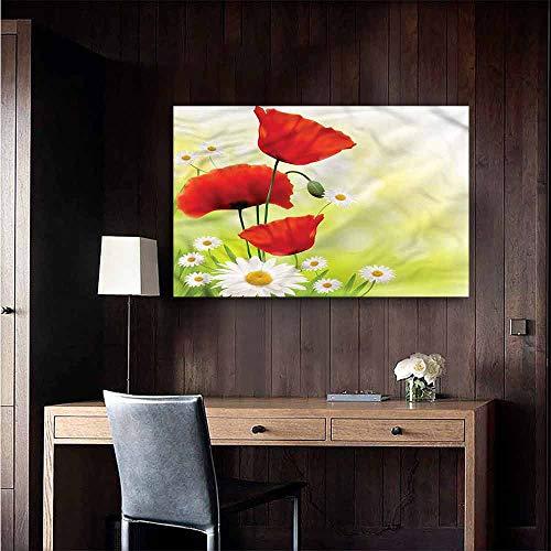Wall Mural Wallpaper Stickers Flower Delicate Poppy Daisy Bouquet Boys Kids Bedroom Size : W48 x H32 ()