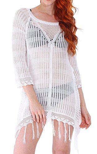 Crochet Knit Bikini Swimsuit White Pullover Cover-Up Wrap (Knit Suit)