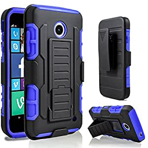 Lumia 635 Case, Nokia lumia 635 Case, Starshop Full Protection Dual Layers Hybird Case with Kickstand and Locking Belt Swivel Clip Blue