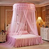 Woopoo Round Mosquito nets Luxury Princess Pastoral Lace Bed Canopy Net Crib Luminous Butterfly (Pink)