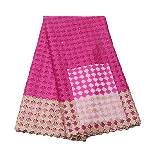 KENLACE 5 Yards/Lot Latest African Lace 2017 African guipure lace fabric sewing African French Tulle lace fabric for Nigerian Party dress (Fuchia Pink)