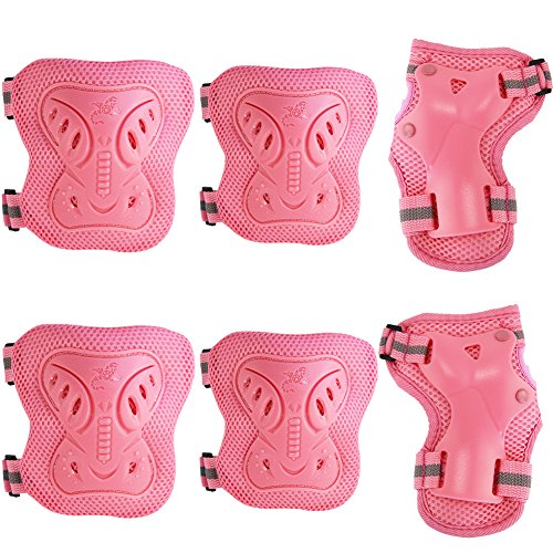 pamase-cycling-roller-skating-knee-wrist-elbow-protective-blading-pads-knee-guards-set-for-kid-pink-