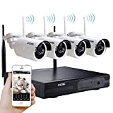 [Better Than 720P] ZOSI WIFI NVR Wireless Security Camera System with 4 Wireless IP 960P wide angle lens Outdoor Night Vision security CCTV Cameras Plug and Play Smart Phone APP Remote View