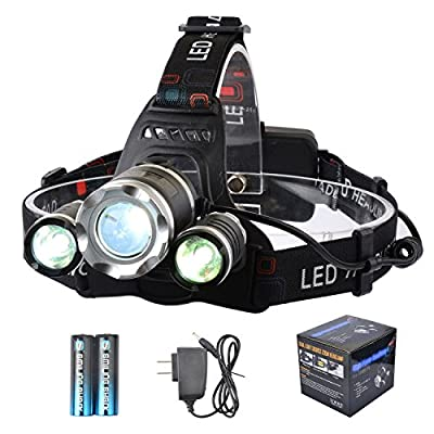 LED Headlamp, Smiling Shark Bright 3 XML-T6 LED Headlight 5000 Lumen 4 Modes Zoomable Water Resistamt Rechargeable Battery