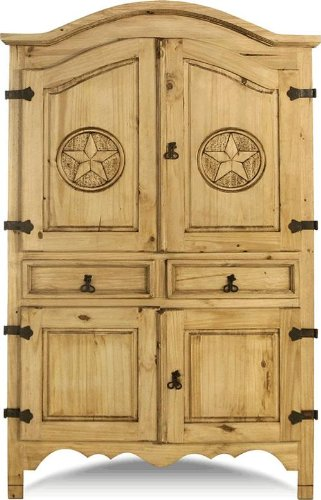 Sierra Armoire With Carved Stars on Door by Toscana Home Interiors