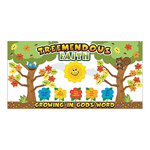 Fun Express - Treemendous Faith Bulletin Board Set - Educational - Classroom Decorations - Bulletin Board Decor - 1 Piece