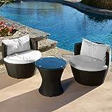 Pattaya 3pcs Outdoor Black Wicker Seating Chat Set w/ Sunbrella Cushions