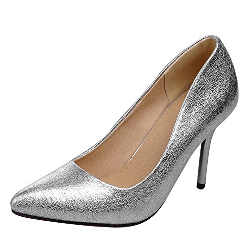 Carol Shoes Women's Charm Sexy High Heel Stiletto Pointed Toe Court Shoes Silver QFfowK