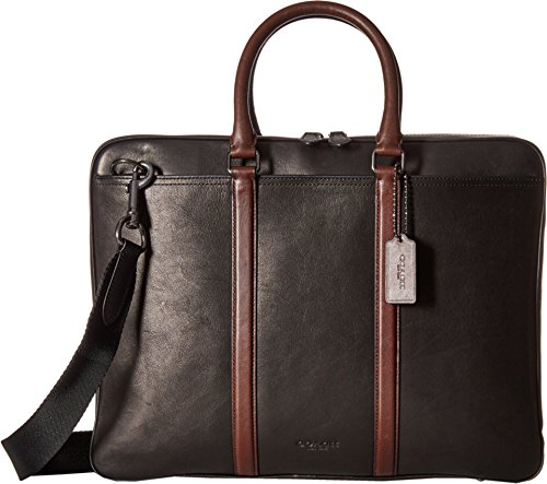 COACH Men's Sport Calf Contrast Handle Metropolitan Brief QB/Black/Mahogany Briefcase
