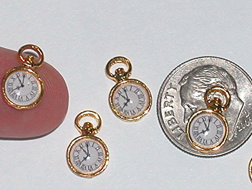 (2 miniature dollhouse tiny little golden Clocks pocket watch time pendant charms Jewelry Making Supply Pendant Bracelet DIY Crafting by Wholesale Charms)