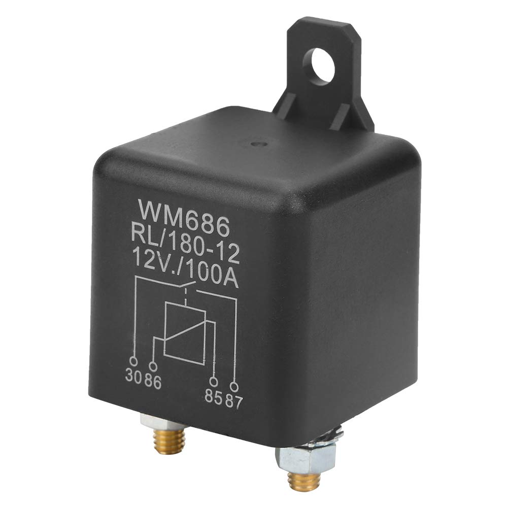 Akozon Rel/é Normal abiertoTarea pesada Car Rel/é de arranque para Control Bater/ía WM686 100A RL//180 DC 12V