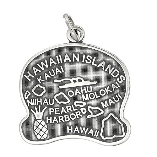 Sterling Silver Oxidized One Sided Hawaiian Islands State of Hawaii Charm