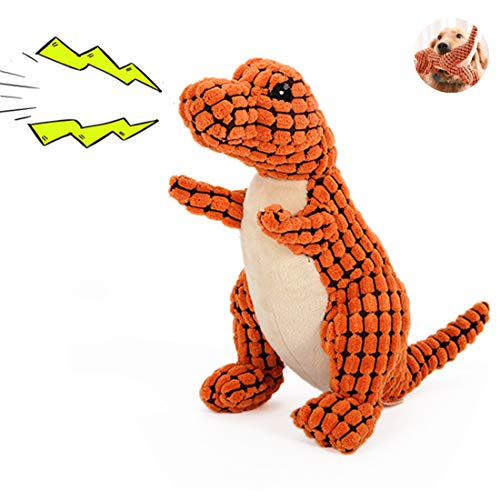 TinyPaw Premium 12″ Dinosaur, Armordillo Animal Shape Interactive Chew Molar Toys-Perfect Squeaky Dog Toys for Clean Tooth & Trainning-1 Free Dog Chew Rope Toy & 1 Exquisite Storage Bag