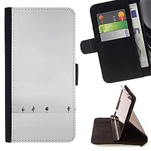 Momo Phone Case / Flip Funda de Cuero Case Cover - Árboles Gris Nieve Solitario - MOTOROLA MOTO X PLAY XT1562