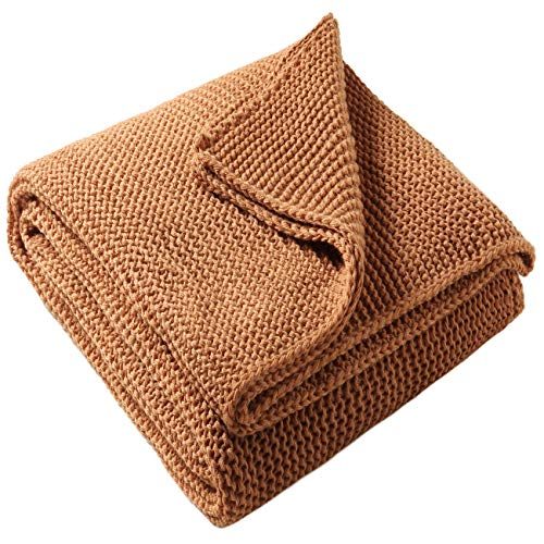 - Treely Knitted Throw Blanket Rust Orange Knit Throw Blanket for Couch Sofa Beach Chair, 50