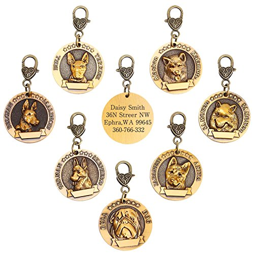 hipidog Dog Tags for Dogs Engraved- Personalized Puppy Tag Matching with 21 Breeds 3D Effect, Premium Copper Tag and Permanently Laser Engraved- Special Unique Tag (Belgian Malinois)