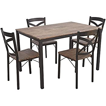 Dporticus 5 Piece Dining Set Industrial Style Wooden Kitchen Table And  Chairs With Metal Legs