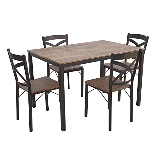 Kitchen Leg Dining Table (Dporticus 5-Piece Dining Set Industrial Style Wooden Kitchen Table Chairs Metal Legs- Espresso)