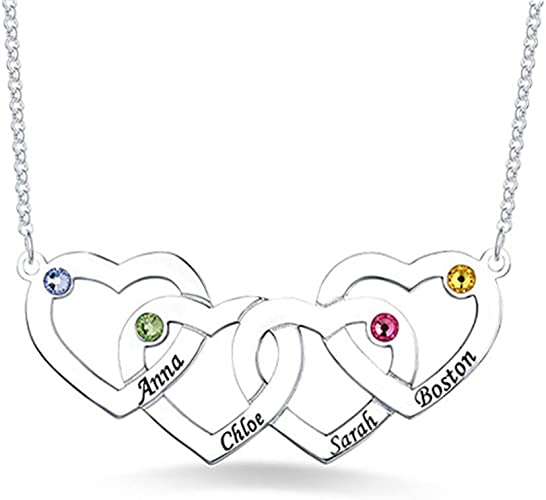 Mothers Day Present DXYAN 925 Sterling Silver Personalized Necklace with 2 Birthstone Heart Custom Made with 2 Names ,Birthday Gifts
