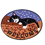 """YOUSA Sleeping Cat Oval Shaped Rugs for Living Room Welcome Door Mats 23.6""""31.5"""""""