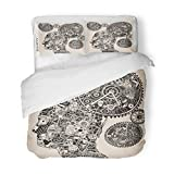 SanChic Duvet Cover Set Steampunk Time Gear Clock Drawing Brain Watch Decorative Bedding Set with 2 Pillow Shams King Size