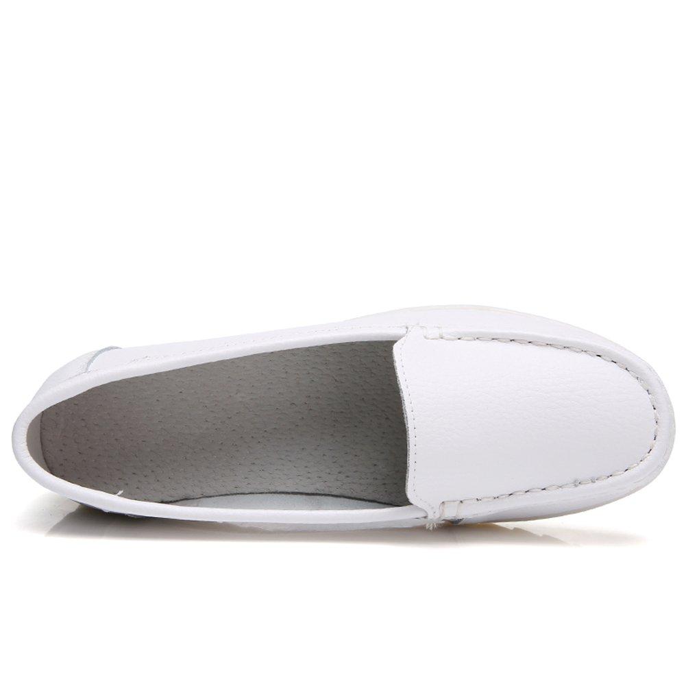 ZYEN Women Nurse Shoes All White Comfortable Slip On Wedges Sneakers Comfortable White Nursing Work Leather Loafers B07BFDHHWN 8.5 B(M) US = Heel to Toe 10 inch (25.5cm)|White 0e8403