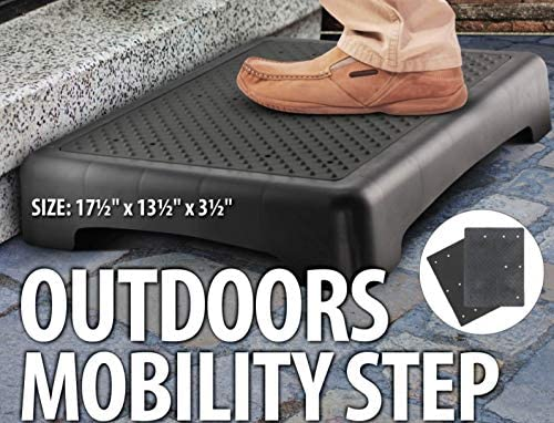 Toddlers Great for Seniors Kovot Indoor /& Outdoor Mobility Step Ribbed /& Flat Grip Inserts Pets and More Measure 17.5 L x 13.5 W x 3.5 H /& Lightweight
