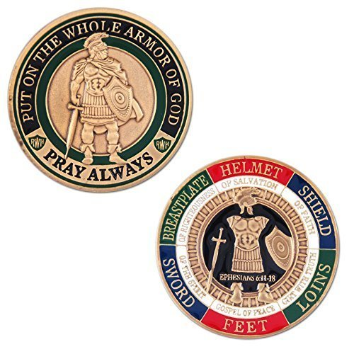 Symbol Arts Armor of God Challenge Coin - Antique Gold - Collector's Medallion - Jewelry Quality (Gold Coin With Angel On Both Sides Value)