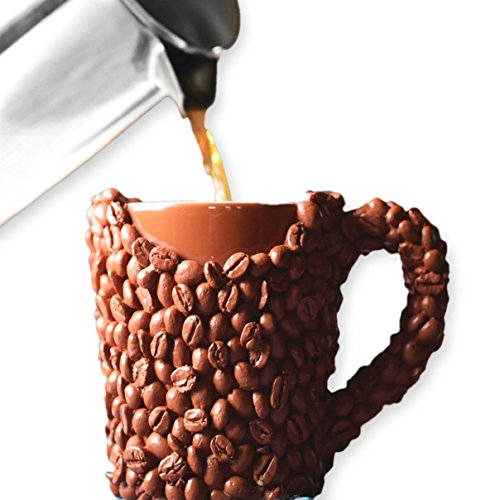 THE Coffee Gifts, Large Coffee Beans Mug - Unique Christmas Dirty Santa Gift with Resin Light Roast Beans, Cool Funny Present For Dad, Mom, Husband, Wife, Men & Women, Double Wall Insulated,