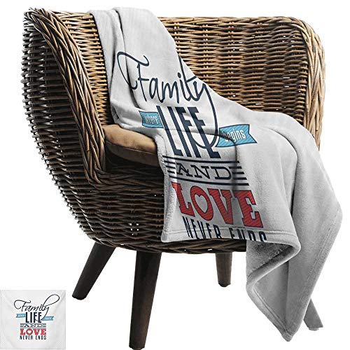 (BelleAckerman Summer Blanket,Family,Vintage Greeting Card Inspired Design with a Quote About Family and Love,Black Pale Blue Red,Lightweight Breathable Flannel Fabric,Machine Washable 35