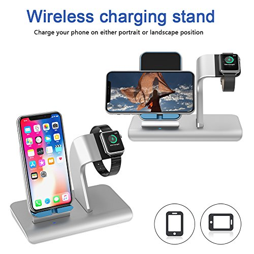 X DODD Replacement for Apple Watch Charging Dock,&Wireless iPhone Charging Stand for iPhone X 8 8 plus Samsung S9/S9+/S8/S8+/S7/Note 8,iWatch Charger Station Holder for iPhone iWatch Series 1/2/3 by XDODD (Image #2)