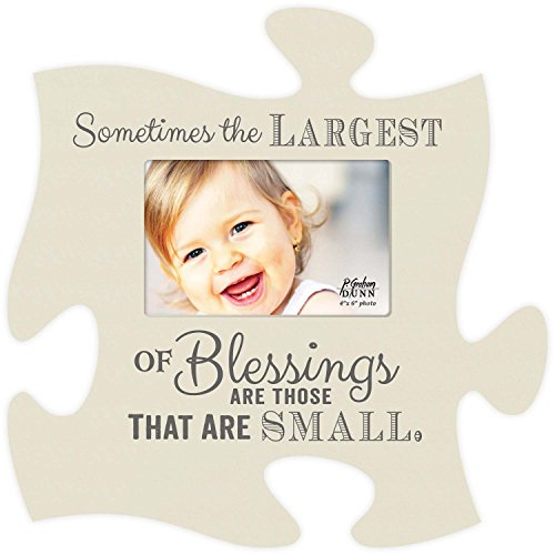 P. Graham Dunn Sometimes The Largest Blessings are Small 12 x 12 Wall Hanging Wood Puzzle Piece Photo Frame
